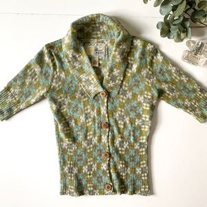 Fossil Floral Wooden Button Cardigan Sweater Green